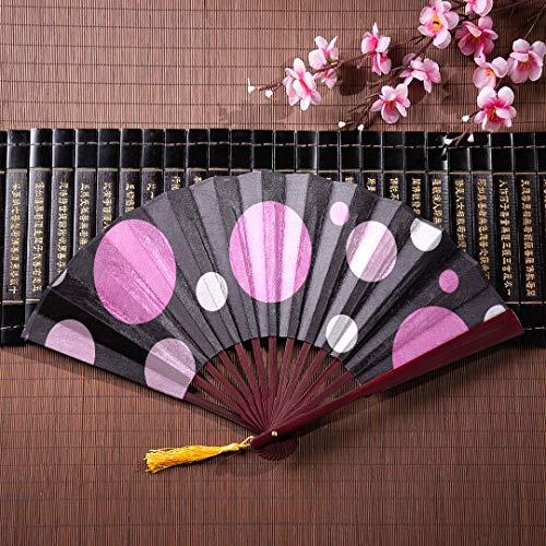 EIJODNL Hölzerne chinesische Fans rosa weiß und schwarz Polka Dot Stoff mit Textur mit Bambus Rahmen Quaste Anhänger und Stoffbeutel Muster Faltfächer Faltfächer Runde Bambus chinesischen Fan -