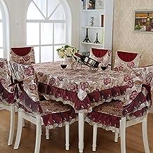 YYHSO Europäische Tischdecke,Stuhlhussen Kissen Set,Tischdecke Stoff Esszimmer  Stuhl Kissen,Stoff