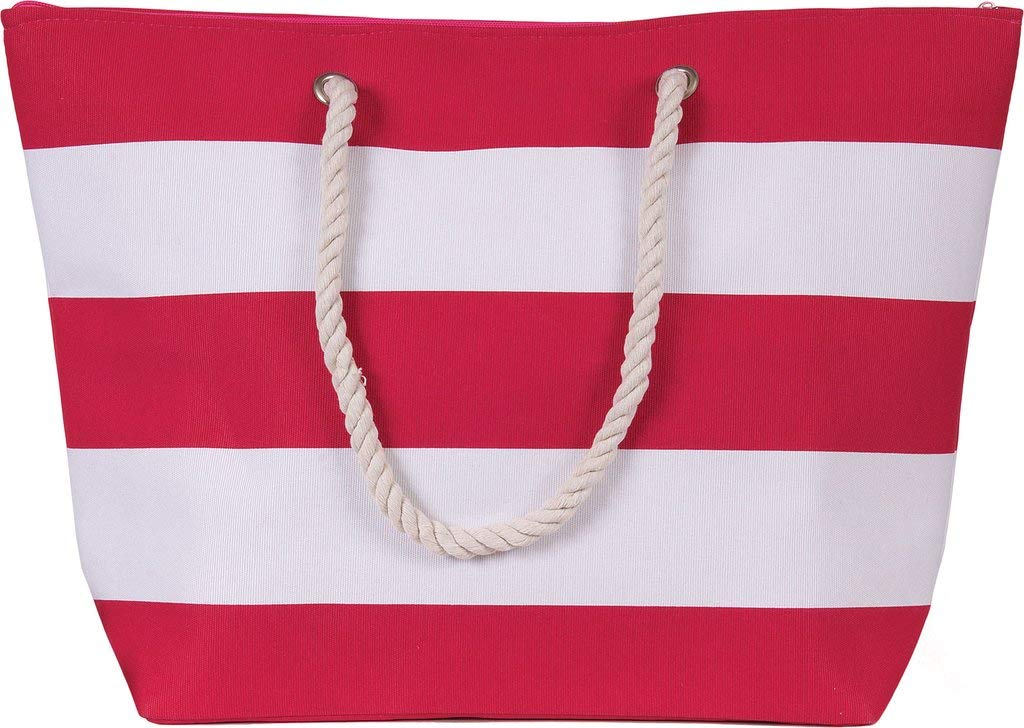 ec0083ebd Beach Tote Bag by Karen Keith Pink and White Stripes Zippered Rope Handle  Inside Pocket Water