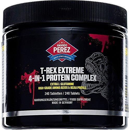 T-REX Extreme-4-in1-Complesso Proteina-Aminoacidi-240Compresse-La proteina di grano-isolato di proteine di pois-Soia isolato di proteina-Proteina di latte concentrato-Approvvigionamento Proteine continua con molto alta qualità L-Glutamine