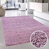 carpet city Shaggy Pastell Teppich Hochflor Langflor Einfarbig/Uni in Pastell-Lila aus Polypropylen für Wohn-Schlafzimmer, Größe: 140x200 cm