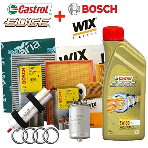 Kit tagliando 4 FILTRI VARI + 5 Lt olio Castrol Edge 5W30(WL7296 OPPURE WL7476, F026402068, WA9580, V3766)