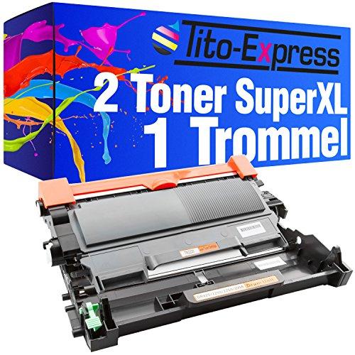 Tito-Express PlatinumSerie 1x Trommel & 2x Toner-Patrone XXL kompatibel zu Brother DR-2200 & TN-2220