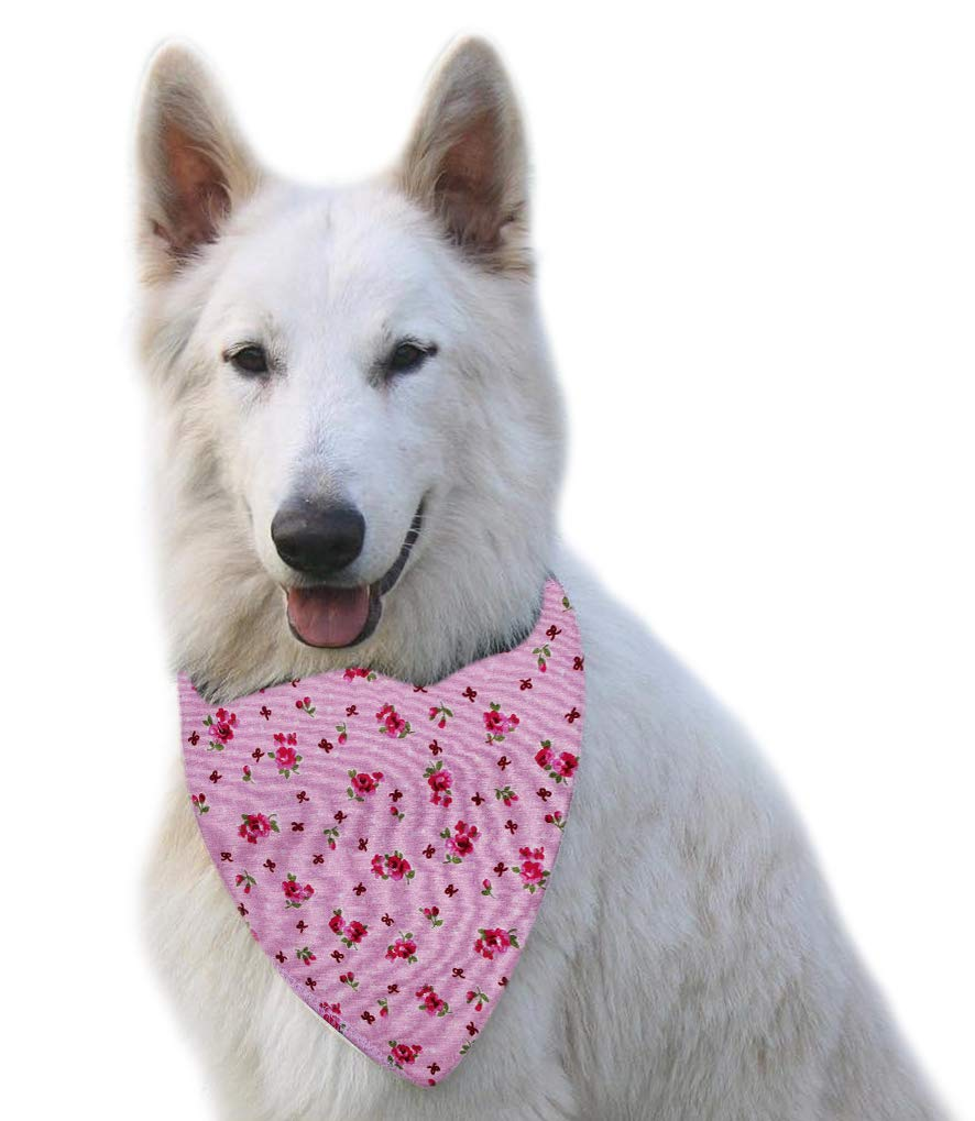 Spoilt Rotten Pets (S4) Branded Pink Vintage Rose Dog Bandana Adjustable Neck to Fit Large to Extra/Large Dogs – Neck Size 23″ – 28″ Generally Fits Chow Chow, German Shepherd, St Bernard, Dogue de Bordeaux and Similar Sized Dogs.