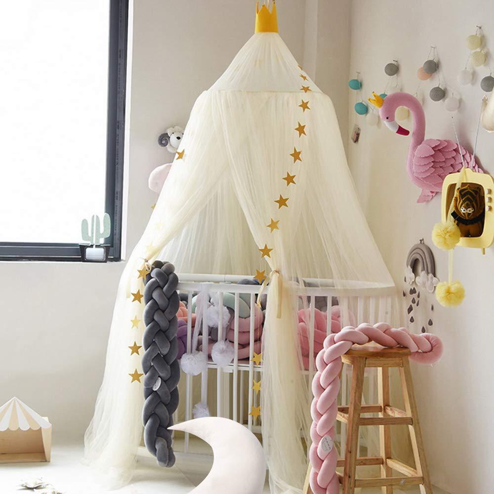 NIBESSER Ciel de Lit Fille Princesse Rose Chambre Papillons Moustiquaire en Filet avec Poteau