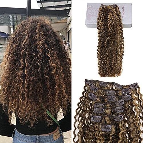 Moresoo 100% veri remy capelli naturali extensions con clip 12 pollice 7pcs 120g kinky curly clip in hair marrone #4 con caramello biondo #27…