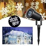 Schneeflocke Projektor LED Lichteffekt – VIDEN Weihnachtsbeleuchtung LED Projektor Lampe, Außen / Innen Wasserdicht IP65, Dynamische Motive, Landschaft Licht mit Weißen Schneeflocken Projektionslampe