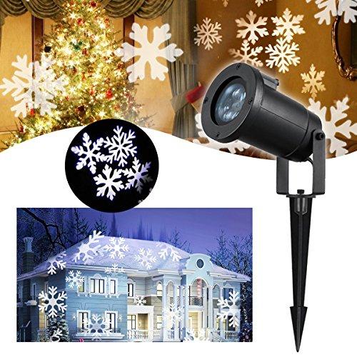 Weiße Landschaft Beleuchtung (Schneeflocke Projektor LED Lichteffekt – VIDEN Weihnachtsbeleuchtung LED Projektor Lampe, Außen / Innen Wasserdicht IP65, Dynamische Motive, Landschaft Licht mit Weißen Schneeflocken Projektionslampe)