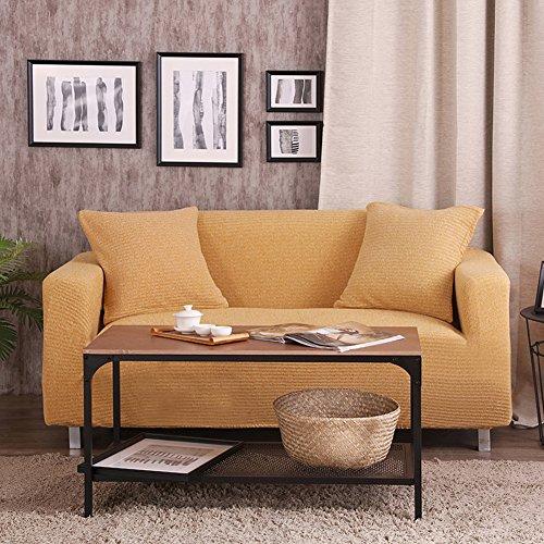Vidsdere Einfarbige Stretch Sofa abdecken,Nicht slipfurniture Protector 1 2 3 4 Kissen Sofa Kinderteppich Hund Dicker Sofa slipcover Stricken-Gelb 3-sitzer