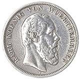 Münze 5 Mark 1874 F Württemberg Silbermünze - König Karl von Württemberg vz/st *RARITÄT*