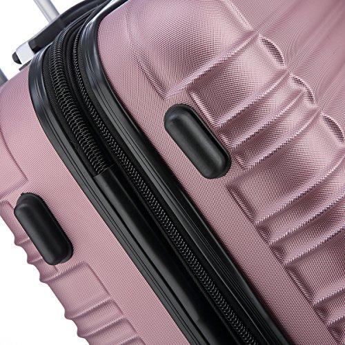Zwillingsrollen 2088 Reisekoffer Koffer Trolleys Hartschale in XL-L-M in 14 Farben(Pink,L) -