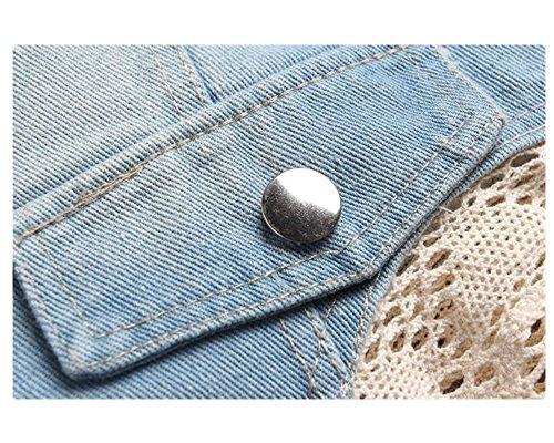 Monissy Femmes Gilet Veste Sans Manches En Jean Avec Poches Décoratives Simple Veste Jacket Jean-Coat Casual Outwear Dentelle Bleu