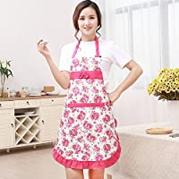 New Printed Apron With Pockets Waterproof Floral Bib Kitchen Soil Release Aprons Bowknot Home Textiles Women Bibs Breech Cloth Pack of 1 Pink (With Free Token)