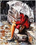 1 X Diy Oil Painting, Paint By Number Kit Woman In The Rain 16*20 Inch Frameless.