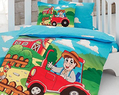 LaModaHome 5PCS Baby Cute Boy Autoaufkleber Bunt Hat Huhn Baum Farm Cloud Kleinkind Baumwolle Bettwäsche Baumwolle Tröster Set, Türkei 100% Baumwolle Kindergarten [Baumwolle Quilt/Tröster] (Twin Boys Tröster Blau Set)