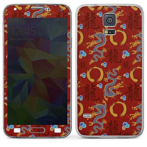 DeinDesign Samsung Galaxy S5 Folie Skin Sticker aus Vinyl-Folie Aufkleber China Drachen Dragons