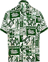 7732199f LA LEELA Men's Beach Hawaiian Shirt Button Down Collar Aloha