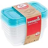 keeeper Vershouddozenset 5-delig, 5 x 0,5 l, 15,5 x 10,5 x 6 cm, Fredo Fresh, blauw transparant, PP, 5 x 500 ml, 5