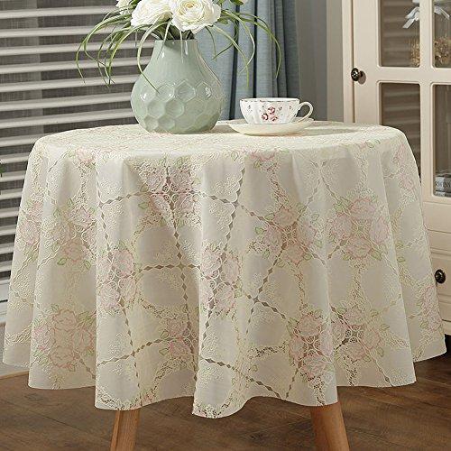 HM&DX PVC Wasserdicht Tischdecken Runde Ölfreie Schmutzabweisend Floral Tabelle cover tuch...