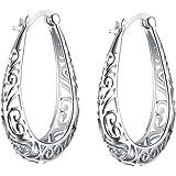 S925 Pendientes de mujer Aros Oreja Aro de plata esterlina Filigrana Pendientes de oreja Pendiente de diseño hueco para mujer