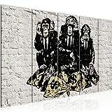 Bilder Banksy Street Art Affen Geldsäcke Wandbild 200 x 80 cm - 5 Teilig Vlies - Leinwand Bild XXL Format Wandbilder Wohnzimmer Wohnung Deko Kunstdrucke Gelb - MADE IN GERMANY - Fertig zum Aufhängen 303455a