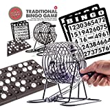 Traditional Bingo Lotto Lottery Family Game Set - Cage Balls Cards Counter.