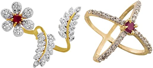 Aabhu American Diamond Fancy Combo of 2 Party Wear Finger Rings Jewellery For Women And Girls