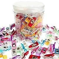Lote de 100pinzas de plástico para costura o patchwork, incluye recipiente de plástico