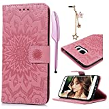 S7 Edge Coque Bookstyle Étui Magnifiquement Conçu Housse Imprimé en PU Cuir Case à rabat Coque de protection Portefeuille TPU Silicone Case pour Samsung Galaxy S7 Edge - Rose