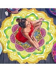 Naturebeauty Lotus Imprimé rond Serviette de plage Imprimé Grandes Tapis de yoga de plage Plaid Serviette