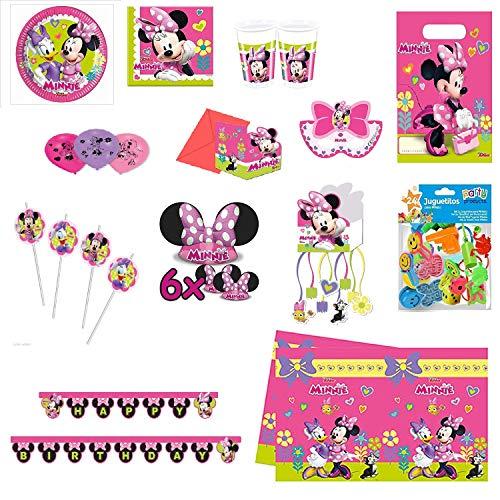 Mega Kit Complet Minnie Mouse décoration fête Anniversaire pour 8 Enfants (Assiettes, Serviettes, gobelets, Ballons ,pailles, Bougies, Chapeau , bannières , Sac , Masques, Cartes, Nappe, Pinata+Jouet