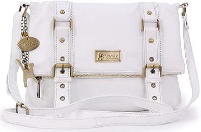Catwalk Collection Handbags - Vera Pelle - Borse a Tracolla/Borsa a Mano/Messenger/Borsetta Donna - Con Ciondolo a Forma di Gatto - Abbey