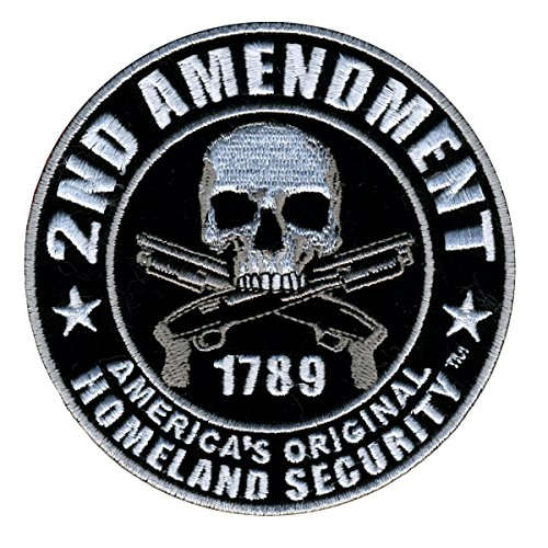 "2nd AMENDMENT - HOMELAND SECURITY with Skulls & Over Crossed Pistols"", VELCRO PATCH - 4"" x 4"""