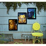 Tied Ribbons Lord Buddha Framed Paintings For Home Decoration Set Of 3 (13.6 Inch X 10.2 Inch)