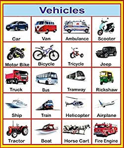 Buy Sds Learning Vehicles Chart For Kids Reading