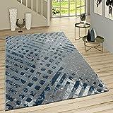 Paco Home Kurzflor Teppich Modern Ausgefallenes Muster Vintage Style Ombre Look Grau Blau, Grösse:155x230 cm