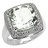 Schmuck-Schmidt-Seltener Grüner Amethyst/Diamant-Ring-6 Karat-zur Verlobung, Hochzeit, Jahrestag-Gr.57