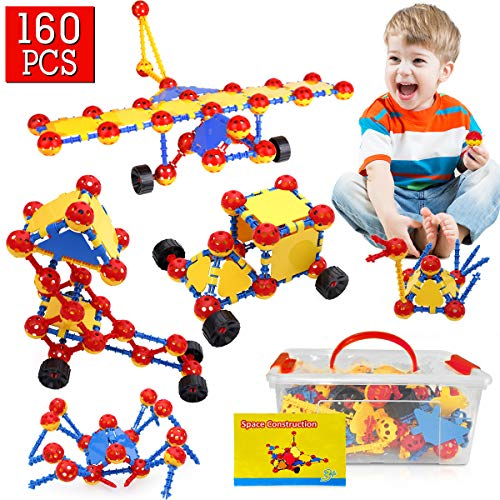 Construction Toys, 160Pcs STEM Learning Toys | Creative DIY Building Blocks Kit | Kids Construction Engineering Set for Boys and Girls Ages 3 4 5 6 7 8 9 10 Year Old, Birthday for Toddlers