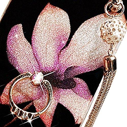 Strass Diamant Bling Luxe Coque pour iPhone 6 Plus /6S Plus,Sunroyal Rhinestone Ultra Slim Cristal Brillant Téléphone Case avec 360 Degrés Rotation Bague Glitter Anneau Stand Holder Flex Soft Gel en T Bling02