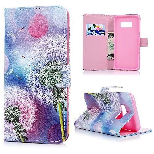 Lanveni S8 Hülle,Handyhülle für Flip Case Cover PU Lederhülle Schutzhülle Magnetverschluss Ledertasche mit Stander Function Handy Tasche mit Bunte Gemalt Design für Samsung Galaxy S8 (Löwenzahn) -
