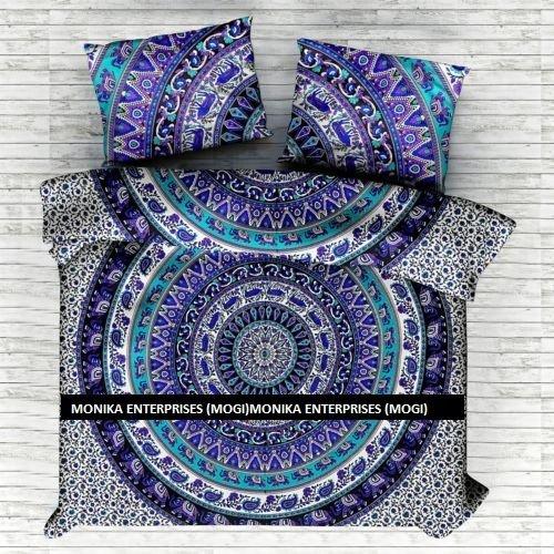 Monika Unternehmen (Mogi) Neue indischen Medaillon Queen Size Baumwolle Doona Bettbezug Set Hippie Bohemian Mandala Decke Quilt Tagesdecke Bettwäsche Tröster Cover mit Kissenbezügen