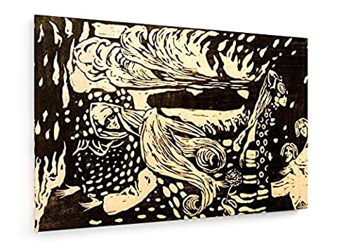 Wassily Kandinsky - Fuga - Holzschnitt 1907 - 60x40 cm - Textil-Leinwandbild auf Keilrahmen - Wand-Bild - Kunst, Gemälde, Foto, Bild auf Leinwand - Alte Meister / (Russische Folklore Kostüme)
