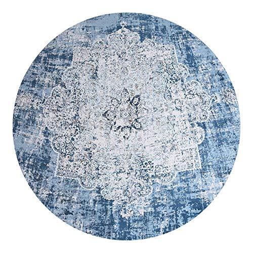 Loartee klassischer böhmischer runder Teppich  für Wohn- oder Esszimmer, Polyester-Mischgewebe, Hellblau (Water Blue), Round 3.4 ft / 100cm -