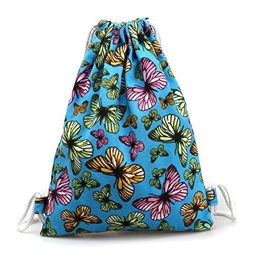 BZLine® Frauen Schmetterlings-Segeltuch-Rucksack Taschen Tunnelzug Rucksack Tasche, 33*1*41cm Himmelblau