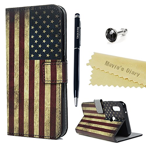 Huawei P20 Lite Hülle Case Mavis's Diary Muster Leder Tasche Handyhülle Flip Cover Schutzhülle Lederhülle Skin Ständer Schale Handytasche Bumper Magnet Klappbar Ledertasche-Amerikanische Flagge