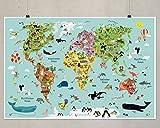 Illustrierte Weltkarte für Kinder XXL 120 x 80 cm
