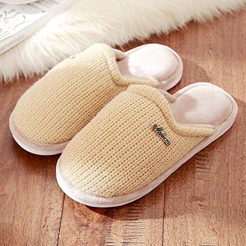 DogHaccd pantofole,Il cotone pantofole soggiorno femmina spessa coperta invernale antiscivolo, scarpe di peluche graziosa pantofole in lana maschio Il caffè4