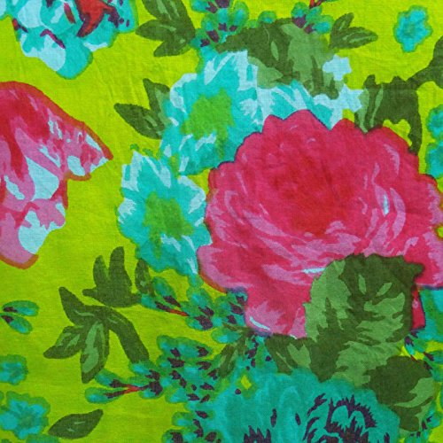 Sans manches en coton imprimé floral brodé Top Blouse Tunique Kurta Aqua Bleu et vert
