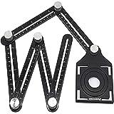 Règle de Mesure Multi-angle, outil de gabarit à six côtés en alliage d'aluminium, outil de mesure multi-angle, avec poinçon,