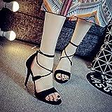 DYY Croix bretelles sandales à bout ouvert mot féminin bien avec des chaussures sexy d'été sauvages sandales à talons hauts,Noir,39